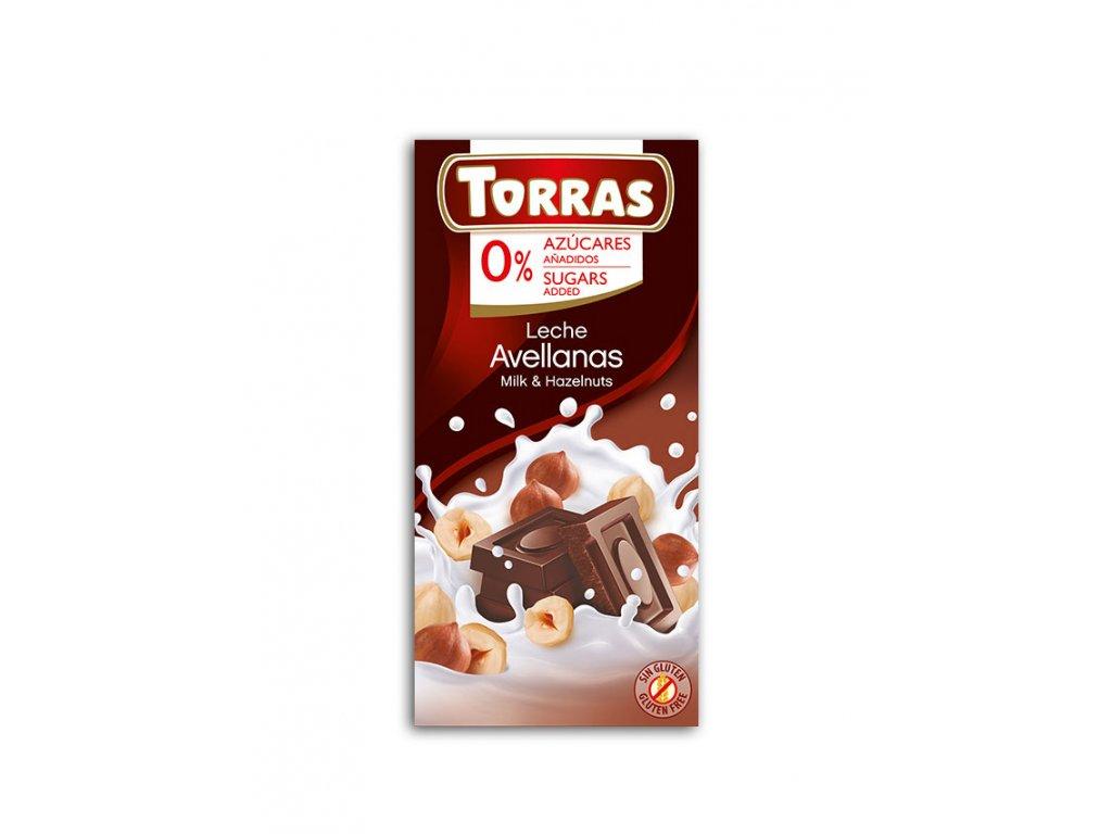 Čokolada mléčná s lískovými ořechy TORRAS 75 g