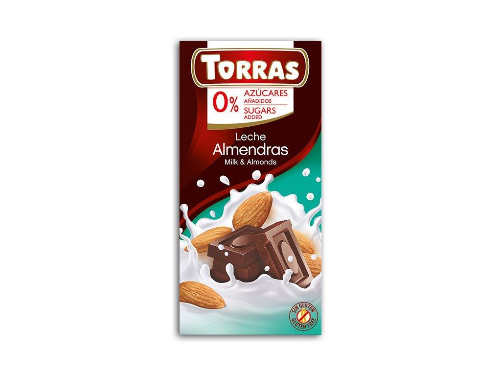 Čokolada mléčná s mandlemi TORRAS 75 g