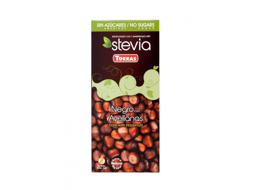 Čokoláda Stevia s liskovými oříšky TORRAS 125 g