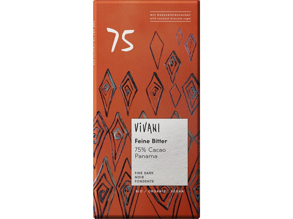 Hořká čokoláda 75% s kokosovým cukrem VIVANI 80 g BIO