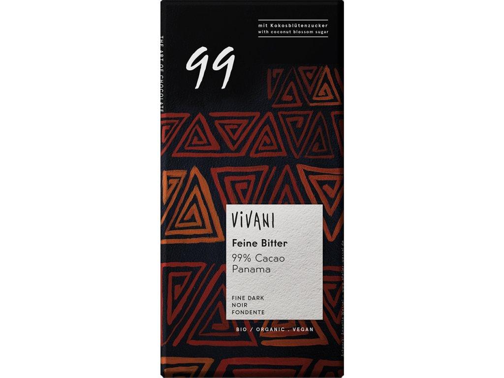 Hořká čokoláda 99% s kokosovým cukrem VIVANI 80 g BIO