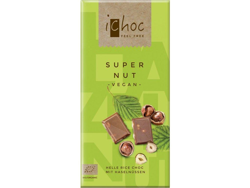 Vegan čokoláda s oříšky iChoc 80 g BIO
