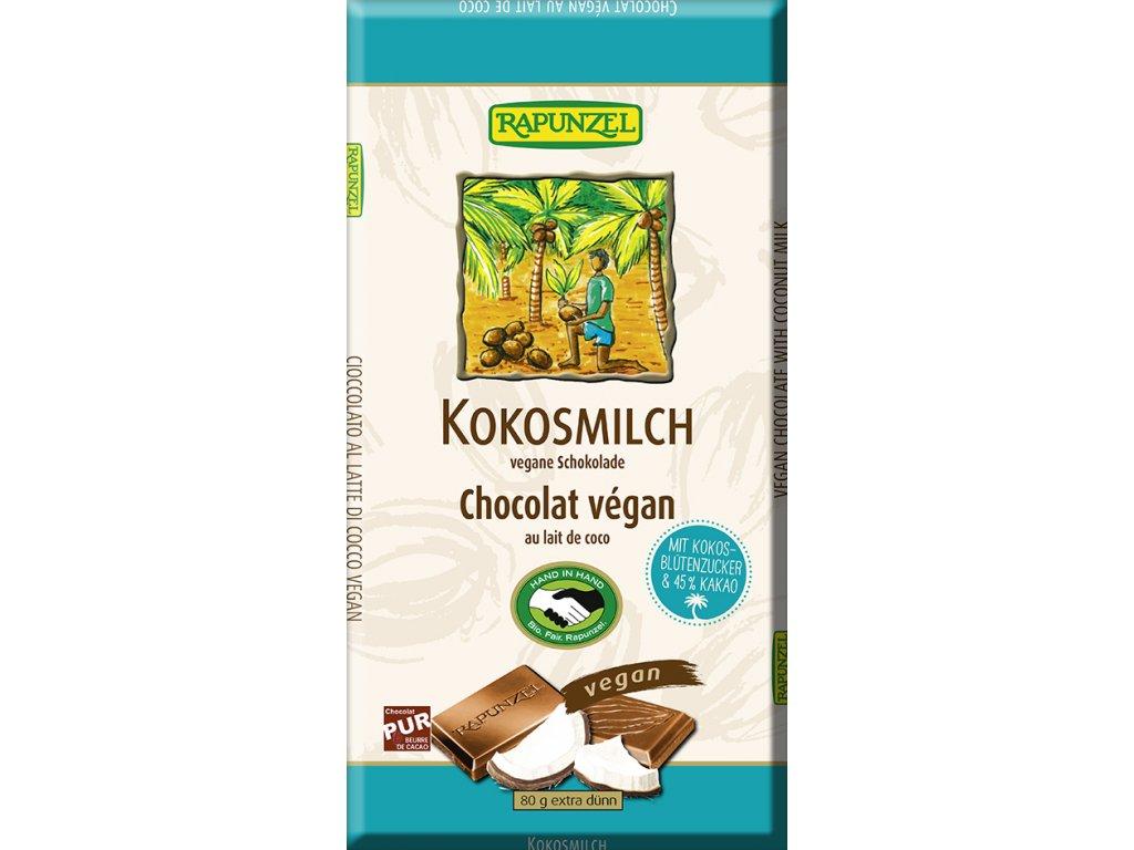 Vegan čokoláda KOKOSOVÉ MLÉKO RAPUNZEL 80 g BIO