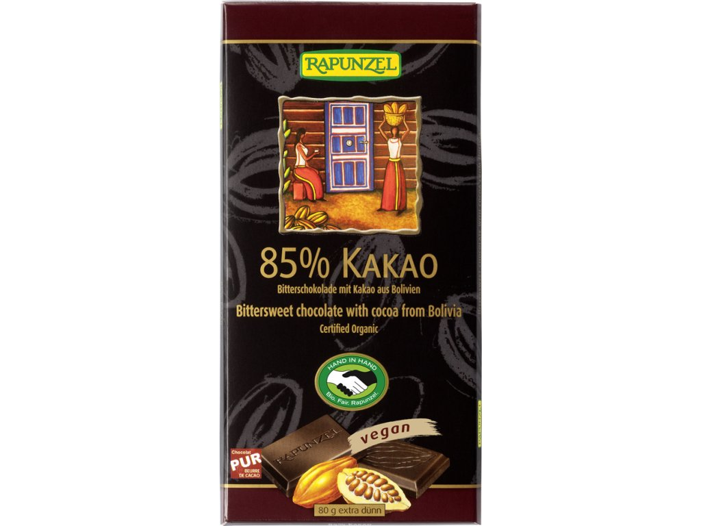 Hořká čokoláda 85% RAPUNZEL 80 g BIO