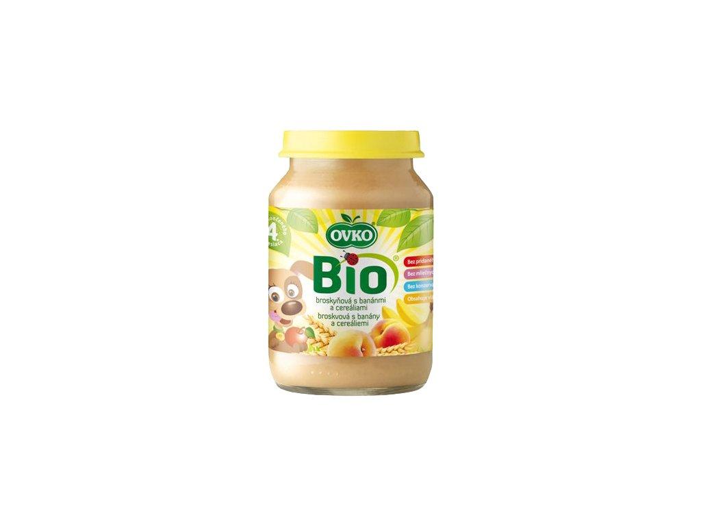 Dětská výživa broskvová s banány a cereáliemi OVKO 190 g BIO