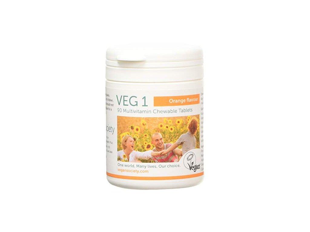 Žvýkací multivitamínové tablety VEG1 s příchutí Pomeranč 90 tbl.