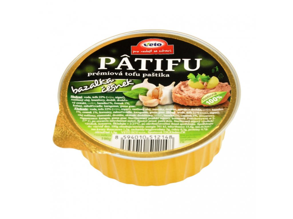 Paštika PATIFU bazalka a česnek VETO ECO 100 g
