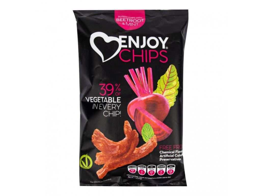 Enjoy Chips s červenou řepou a mátou NEW DELESPINE 40 g