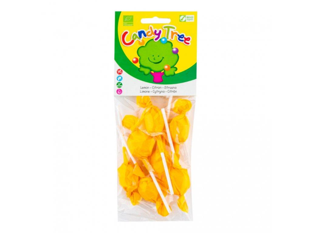 Lízátka s příchutí citronu bezlepková CANDY TREE BIO 7×10 g