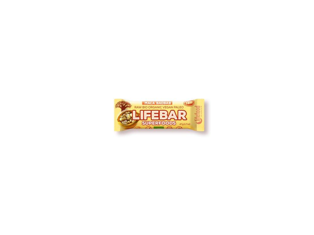 LIFEBAR Superfoods BIO RAW s ovocem a macou 47 g LIFEFOOD