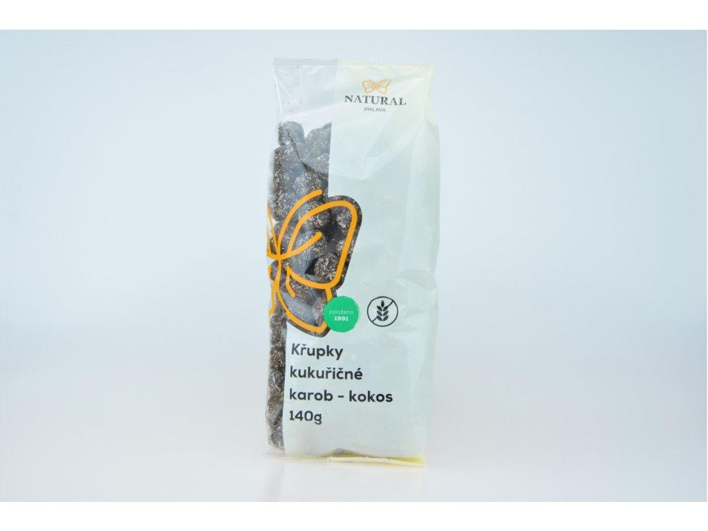 Křupky kukuřičné karobové s kokosem NATURAL 140 g