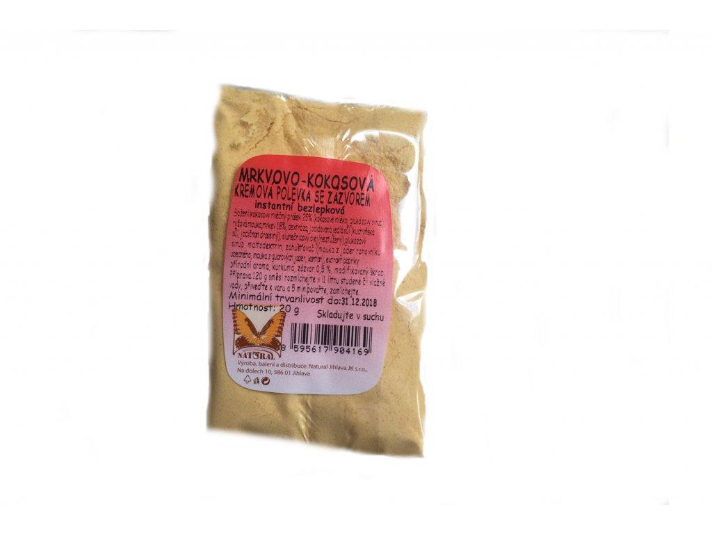 Instantní bezlepková krémová mrkvovo-kokosová polévka se zázvorem NATURAL 20 g