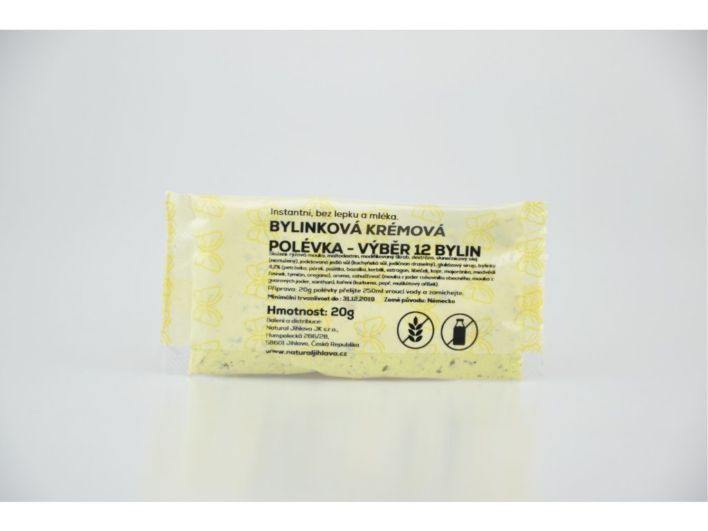 Instantní bezlepková bylinková krémová polévka s výběrem 12-ti bylin NATURAL 20 g