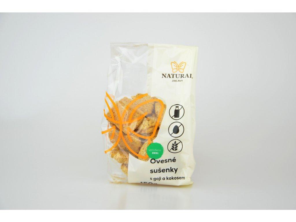 Ovesné sušenky s goji a kokosem bez lepku, vajec a mléka NATURAL 150 g