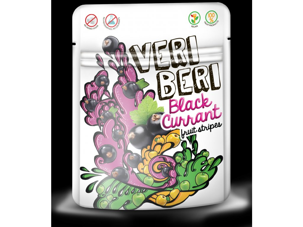 Ovocné stripsy černý rybíz Veri Beri 50 g