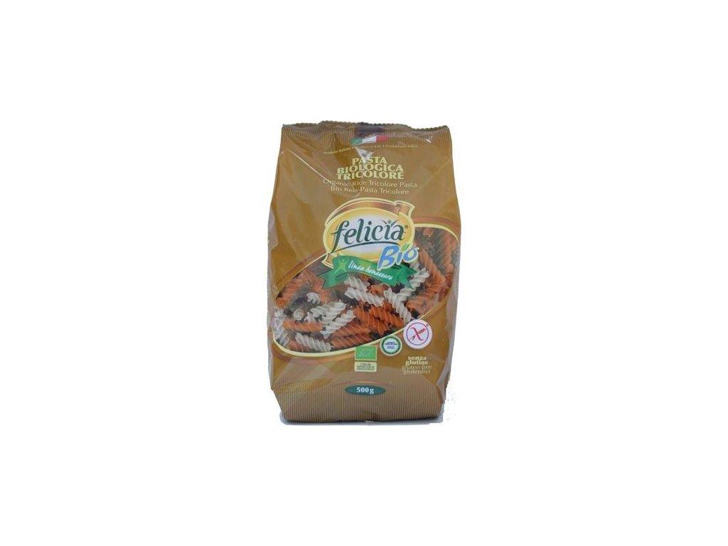 Těstoviny rýžové FUSILLI tricolore bezl. 500 g BIO FELICIA
