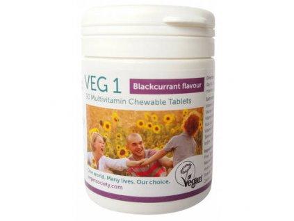 Žvýkací multivitamínové tablety VEG1 s příchutí Černý rybíz 90 tbl.