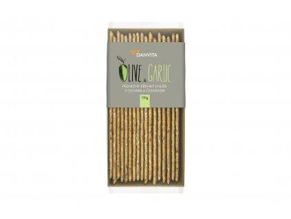 DANVITA Křehký pšeničný chléb s olivami a česnekem 130 g