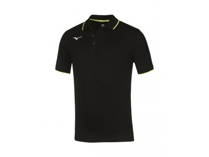 men mizuno polo black yellow fluo