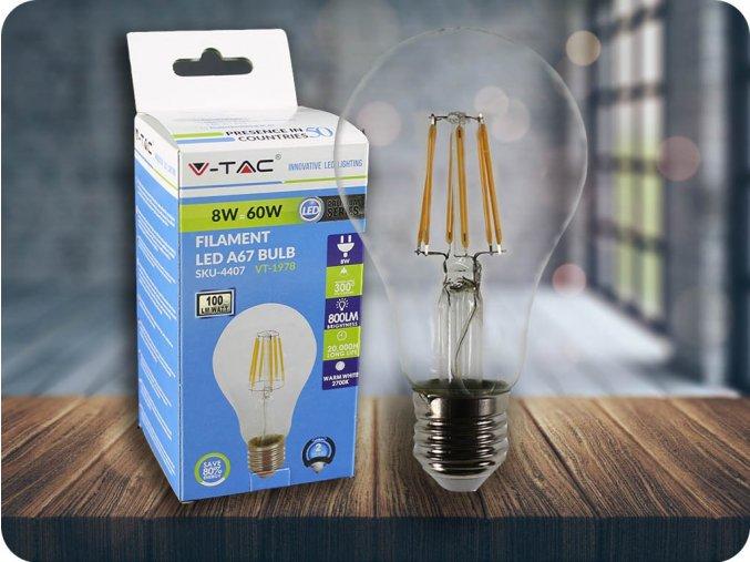 E27 LED Filament Retro Birne 8W (800Lm), A67 (Lichtfarbe Kaltweiß)