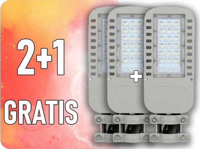 LED Straßenlampe SAMSUNG CHIP, 30W, 3600lm (120LM/W), IP65, 2+1 gratis! (Lichtfarbe Kaltweiß 6400K)