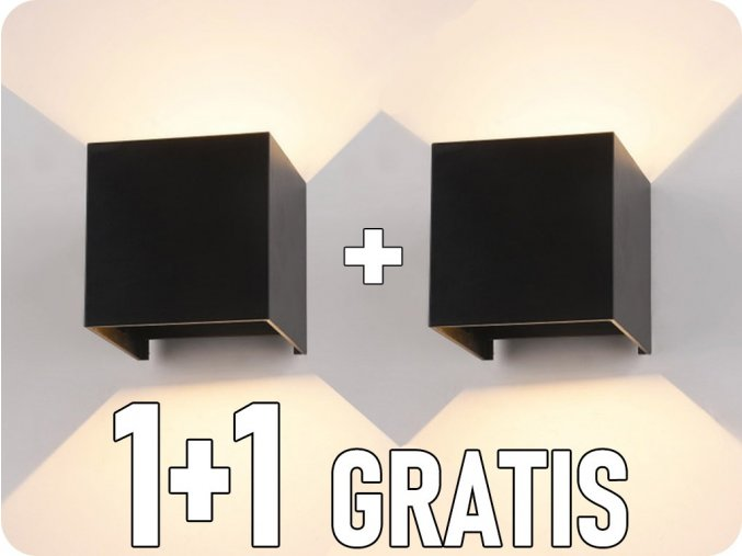Wandleuchte, schwarz, quadratisch, IP65, 1+1 gratis!