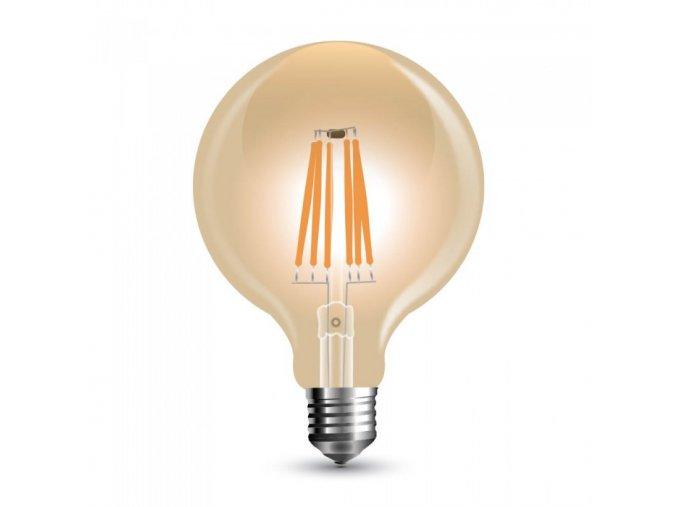 3752 led gluhbirne 8w filament e27 g125 bernstein dimmbar