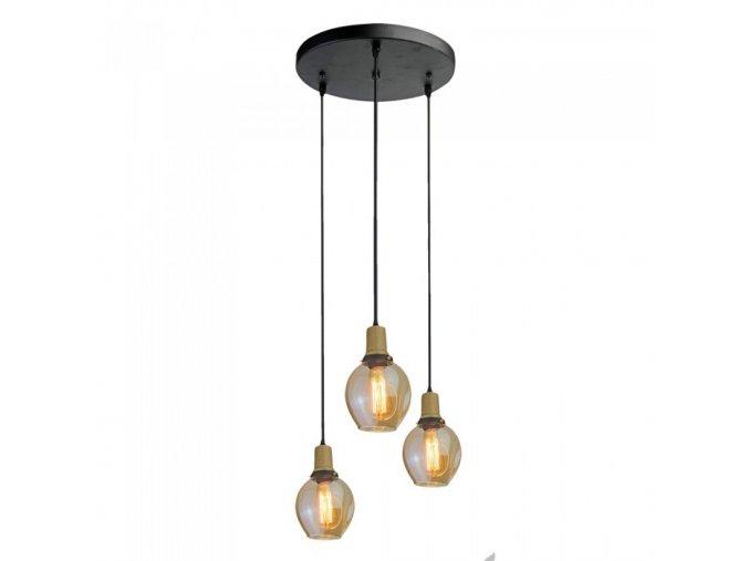 6599 trio glas pendelleuchte e27 fassung mit glas lampenschirm bernstein
