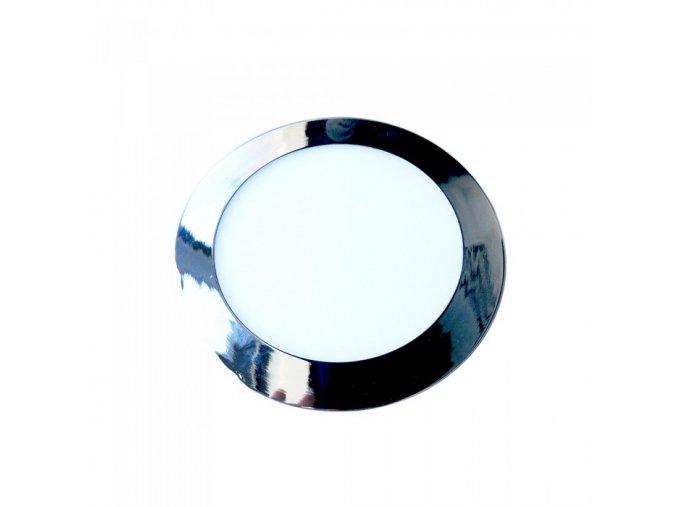 7682 12w led slim panel leuchte chrom rund