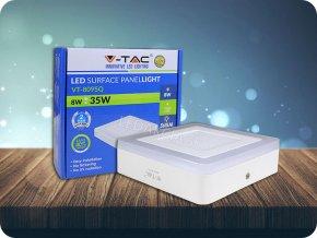 6W+2W LED Oberfläche Panel Einbauleuchte - Quadratisch  EMC+CR80 (Lichtfarbe Kaltweiß)