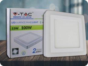 12W+3W LED Oberfläche Panel Einbauleuchte - Quadratisch  EMC+CR80 (Lichtfarbe Kaltweiß)