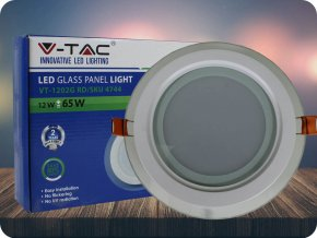 12W LED Panel Einbauleuchte Glas - Rund (Lichtfarbe Neutralweiß)