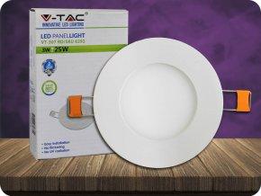 3W LED Premium Panel Einbauleuchte - Rund (Lichtfarbe Kaltweiß)