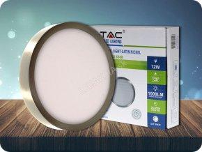 12W LED Oberfläche Panel Satin Nickel Rund (Lichtfarbe Kaltweiß)