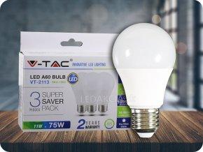 LED Glühbirne - 11W E27 A60 Thermokunststoff  3 Stück/Packung (Lichtfarbe Kaltweiß)