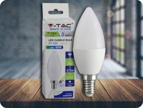 LED Glühbirne - SAMSUNG CHIP 4.5W E14 A++ Kunststoff Kerze 6400K (Lichtfarbe Kaltweiß)