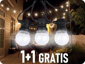LED Schnurleuchte 5M mit 10 Filament Glühbirnen 3000K, 1+1 gratis!