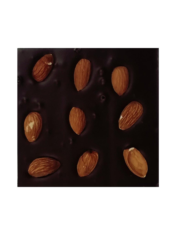 Hořká čokoláda slazená stévií s mandlemi