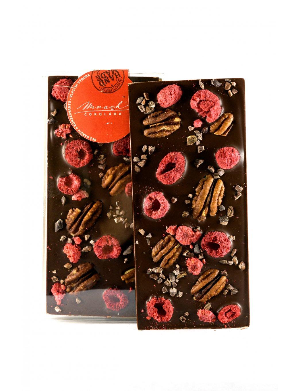 Hořká čokoláda s pekany, ovocem a kakaovými boby