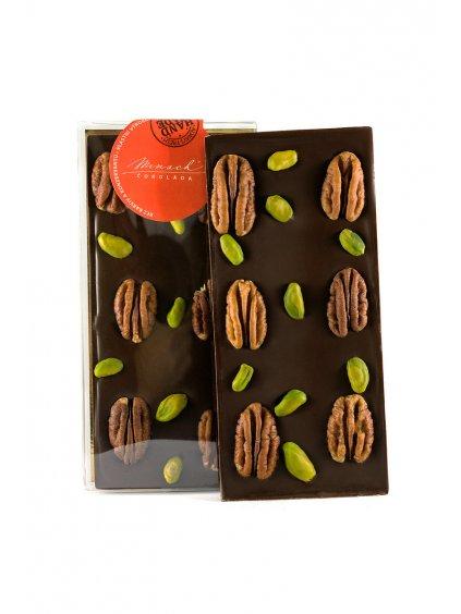 Hořká čokoláda s pekany a pistáciemi