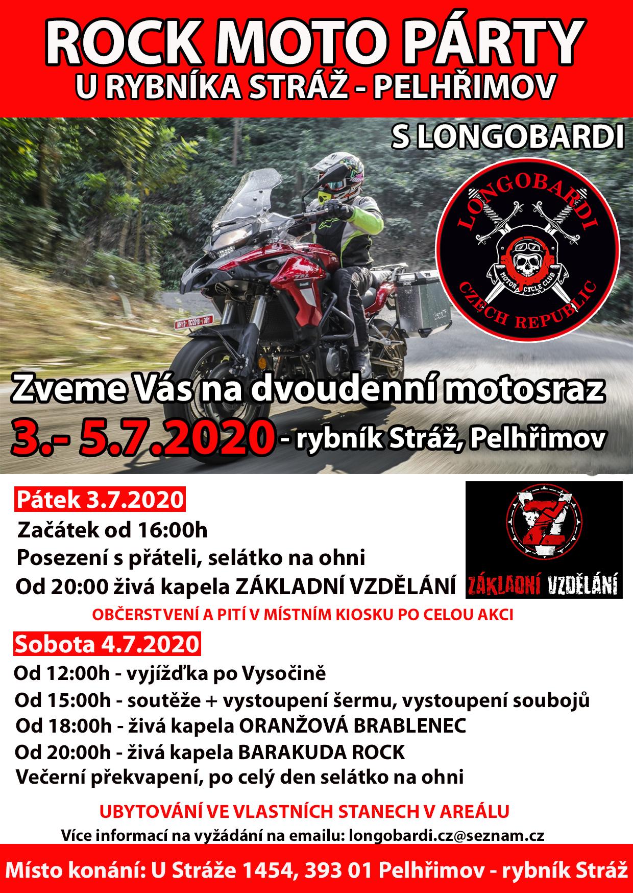Pozvánka na motosraz 3.-5.7.2020 - Pelhřimov, rybník Stráž