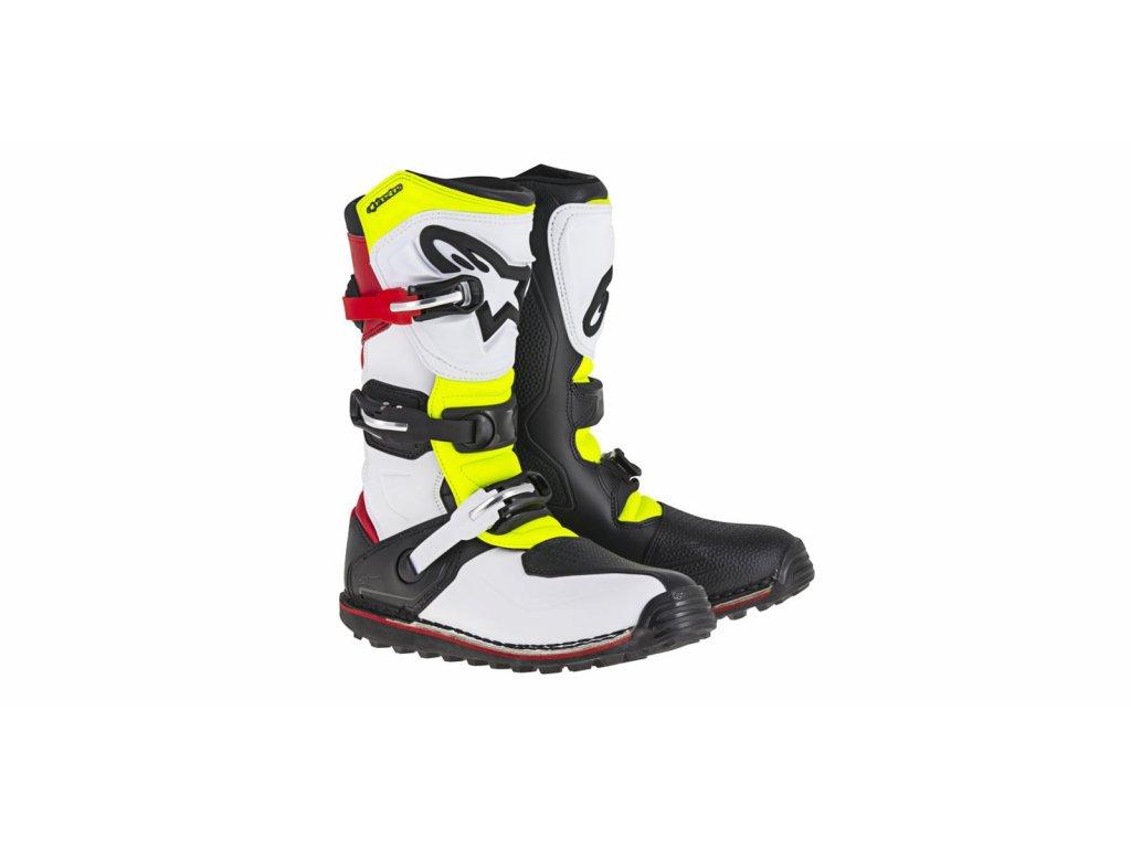 boty TECH TRIAL 2021, ALPINESTARS (bílá/červená/žlutá fluo/černá)