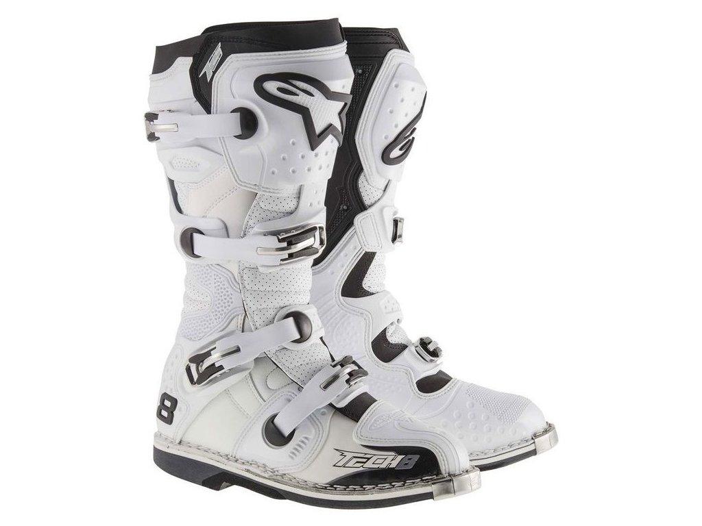 boty TECH 8 RS VENTED, ALPINESTARS (bílé, perforovaná obšívka)