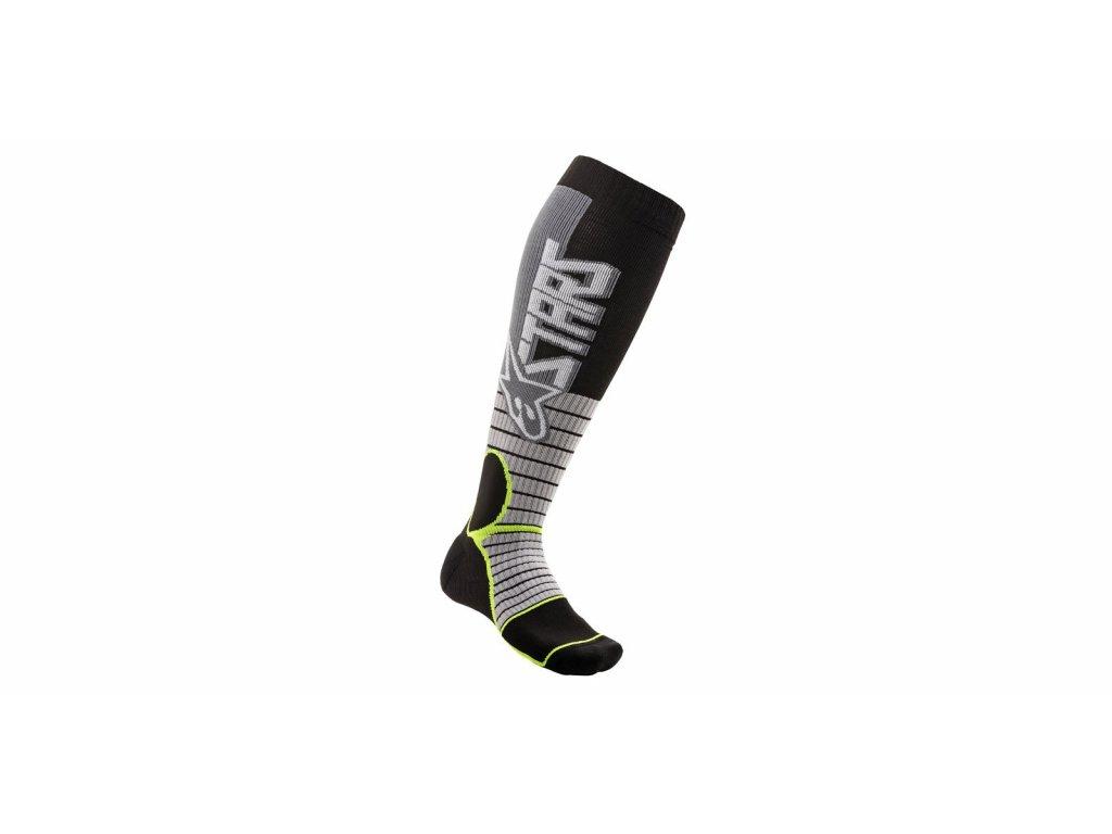 ponožky MX PRO SOCKS 2021, ALPINESTARS (šedá/žlutá fluo)