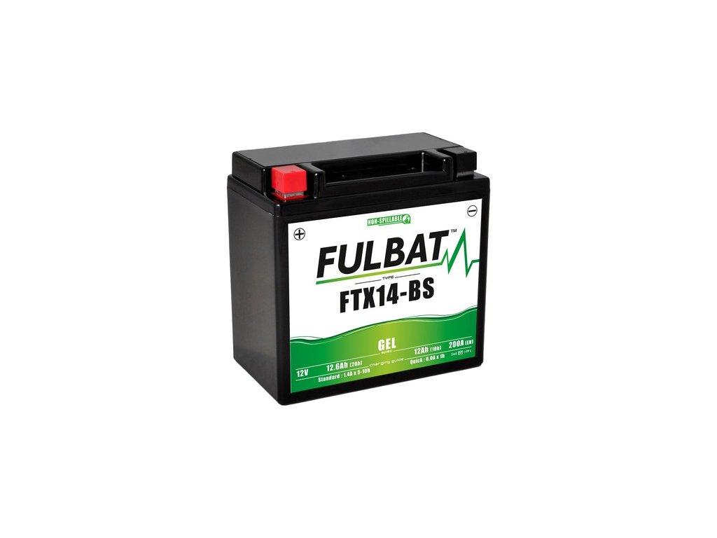 baterie 12V, FTX14-BS GEL, 12,6Ah, 200A, bezúdržbová GEL technologie 150x87x145, FULBAT (aktivovaná ve výrobě)