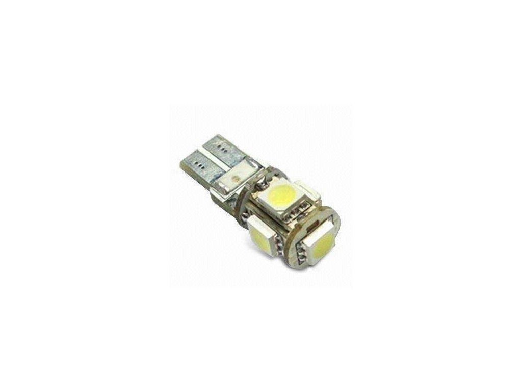 49 diodova zarovka par v blistru bila super white t10 12v 5 smd led 5050 smd 3chip canbus