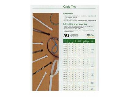 3696 vazaci kabelove pasky 8x250mm bila sada 100 kusu