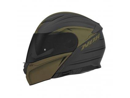 přilba N965 EKO, NOX (černá matná/zelená khaki)