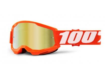 STRATA 2 100% - USA , dětské brýle Orange - zrcadlové zlaté plexi