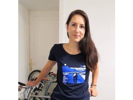 Modrobílé dámské tričko Do práce na kole 2020 od Jaromíra 99